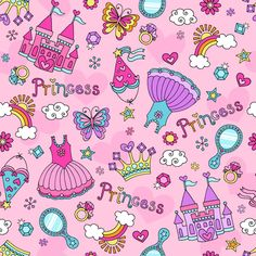 Cute Princess Elements Background Vector