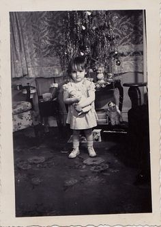 Vintage Antique Photograph Cute Little Girl Holding Doll By Christmas Tree