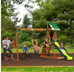 Backyard Playground | Childrens Backyard Wooden Swing Set Play Outside Gym Slide Kids Patio