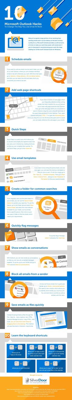 10 Microsoft Outlook Hacks To Change The Way You Use Email At Work - #Infographic