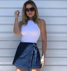 Denim Skirt Jean Skirt Metallic Skirt Beige Jean Skirt White Pleated S – swssing White Pleated Skirt, Gathered Skirt, Denim Fashion, Look Fashion, Fashion Outfits, Trendy Outfits, Summer Outfits, Cute Outfits, Cage Skirt