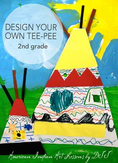 Second grade students draw Native American Symbols on their own teepees and create a painted landscape. http://www.deepspacesparkle.com/2011/07/04/american-indian-art-lessons-for-kids/