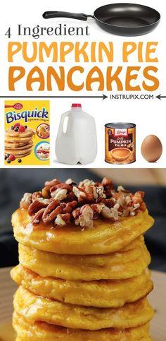 Easy Pumpkin Pie, Libbys Pumpkin Pie, Pumpkin Pancakes Easy, Libby's Pumpkin, Homemade Pancakes, Pumpkin Pie Recipes, Fall Recipes, Dinner Recipes, Fall Breakfast