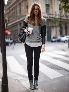 Leather sleeves & zippers.. tomboy chic street style #minimalist #fashion