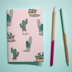 Small cactus notebook by notonlypolkadots on etsy милые идеи diy schule, no Notebook Art, Small Notebook, Notebook Covers, Notebook Design, Diy Notebook Cover For School, Balle Anti Stress, Small Cactus, Cactus Cactus, Cacti