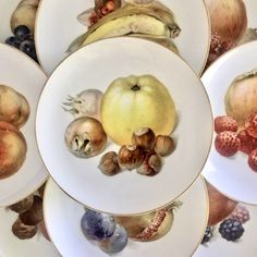 9 Vintage Thomas of Germany Fruit Dessert Plates/Side Plates/Salad Plates by EastSideBazaar on Etsy Fruit Dessert, Dessert Plates, White Cherries, Fruit Pattern, China Sets, Side Plates, Salad Plates, Vintage China, Vintage Decor