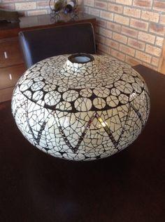 Ostrich egg mosaic pot by Lisa B's Art studio