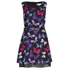 Black, Pink & Purple Watercolour Butterfly Print Structured Dress