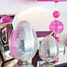 kleines, stehendes Osterei zur Deko, Crackle Glas Silber - PURE VELVET - Interior & Home Decoration