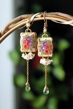 Creamy Keishi Pearls, Green Apatite and polymer clay floral long dangle earrings - Spring Floral Ballerina