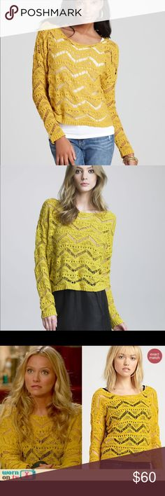 Ella Moss Kasia Crochet Sweater As seen on Olivia Munn and on TV. Great layering sweater. Looks super cute over sundress. Great condition! Yellow open crochet weave. 100 percent cotton. Bust and length is 20 inches Ella Moss Sweaters Crew & Scoop Necks