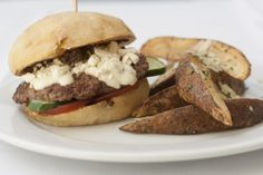 Mediterranean 1/3 lb. Lamb Burger                       Tomato, pickled cucumber, feta cheese,  olive tapenade, ouzo aioli served with crispy herbed Greek style potato wedges @Crocker Art Museum Cafe