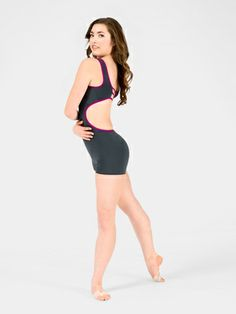 00603aee4d439 Adult Open Back Two-Tone Tank Shorty Unitard