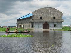 Church in Ganvie ( town built on stilts on a lake) Benin