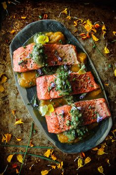 Roast Salmon with Walnut Sauce - Heather Christo Shellfish Recipes, Seafood Recipes, Dinner Recipes, Dairy Free Recipes, Paleo Recipes, Gluten Free, Easy Delicious Recipes, Yummy Yummy, Tasty