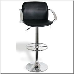 Awesome Black Full Grain Leather Swivel Bar Stool With Rounded Chromed Metal Footrest And Pedestal Base As Well As Kitchen Bar Stools Also High Bar Stools [