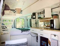 """Featured on HGTV's """"Tiny House, Big Living"""" episode - Fite Travels built a. Rv Bus, Saint Nazaire, Kitchen Cabinets, Kitchen Appliances, Van Living, Camping Car, Custom Vans, Stacked Washer Dryer, Hgtv"""