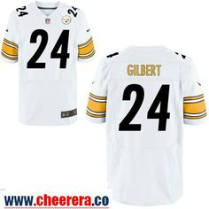 Men's Pittsburgh Steelers #24 Justin Gilbert White Road Stitched NFL Nike Elite Jersey