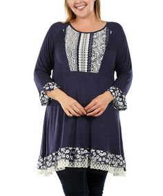 Love this Blue & White Lace-Hem Tunic - Plus by Aster Blue on #zulily! #zulilyfinds