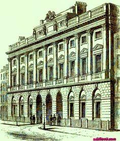 1828 Somerset, House, London, UK. via Londiniana. Google Books suzilove.com London Places, Somerset, Pisa, Regency, Collage Art, Multi Story Building, Louvre, Tower, History