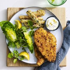 Chicken Schnitzel with Parmesan and Sesame Seed Zucchini Chips