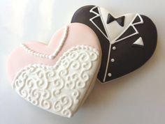 1 Dozen Bride and Groom Heart Wedding Cookies