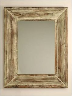 Wood Framed Mirror Streaky Neutrals Gray Brown By KennethDante