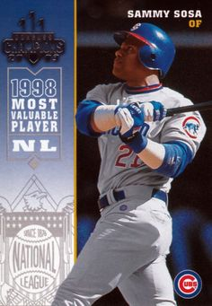 still celebrating this quirky & compelling game, as well as its fans and its players. and my utterly worthless baseball cards. Sammy Sosa, The Outfield, Sports Teams, Cubbies, Chicago Cubs, Mlb, Legends, Baseball Cards, History