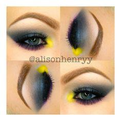 grey smokey eye w/ pop of yellow and purple lower lash line