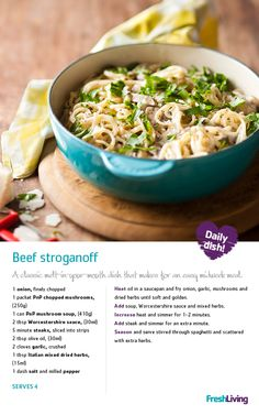 RUSSIAN REVOLUTION: Learn how to make melt-in-your-mouth #beef #stroganoff in under 30 minutes! #dailydish #picknpay #freshliving