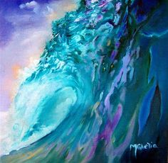 """Tahitian Wave - What a Ride"" - Original Fine Art for Sale - � Maureen Ghetia"