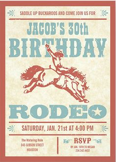 Cowboy Birthday Rodeo Party Invitations Cowboy birthday invitations with a red and blue vintage western rodeo poster design. Customize to fit any age. Great for a cowboy themed birthday party. Fun birthday party invites - customize your invitations. Rodeo Birthday Parties, Cowboy First Birthday, Rodeo Party, Birthday Ideas, 2nd Birthday, Horse Birthday, Cowgirl Party, Country Birthday, Horse Party