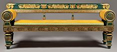 Fig. 1: Grecian settee, design and manufacture attributed to John Finlay (active ca. 1799–1833) and Hugh Finlay (active ca. 1800–1837), Baltimore, Md., ca. 1825. Painted wood, freehand and stenciled gilt decoration, caning, reproduction silk upholstery. H. 30-1/2, W. 76, D. 21 in. © Columbia Museum of Art. Photography by Jonathan Goley.