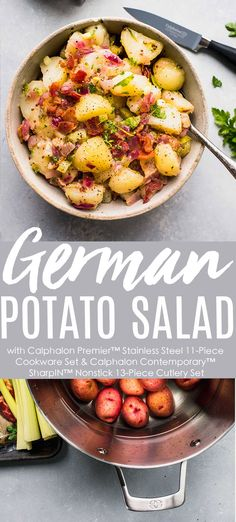 This delicious German Potato Salad combines tender potatoes with a warm bacon-mustard vinaigrette dressing. #sponsored It's tangy, creamy and the perfect side dish for the summer grilling season. Made easy with my Calphalon Premier™ Stainless Steel 11-Piece Cookware Set and Calphalon Contemporary™ SharpIN™ Nonstick 13-Piece Cutlery Set, which has a built in sharpener and nonstick technology, making for quick slicing & dicing. Available at Calphalon.com  recipe authentic  #nonstickcookware Side Recipes, Dinner Recipes, Dessert Recipes, Vinaigrette Dressing, Cookware Set, I Want To Eat, Cutlery Set, Potato Recipes, Summer Recipes