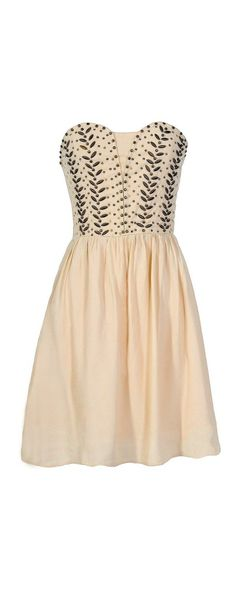 Lily Boutique Antique Bronze Embellished Dress in Ivory, $45  www.lilyboutique.com