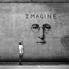 Imagine, street art, graffitti, imaginative, true, man, glasses, nose, lips, mouth, man, watcher, photo b/w., brilliant.