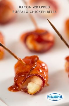 Looking for the perfect appetizer for the big game party? Follow your bacon radar towards our recipe for Bacon-Wrapped Buffalo Chicken Bites. They're chicken topped with PHILADELPHIA Cream Cheese, then wrapped in OSCAR MAYER Bacon, brushed with Buffalo Wing sauce and brown sugar and baked to crispy perfection. Oh, yes.
