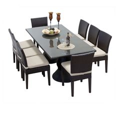 TKC Napa Rectangular Outdoor Patio Dining Table with 8 Armless Chairs, Beige