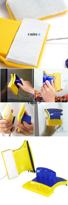 1 X Set Magnetic Window Double Side faces Glass Wiper Useful Cleaner Cleaning Brush Pad Car