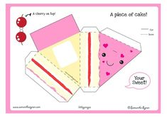 cute little paper cake. This would be a cute birthday card for a kid, then they could make a piece of cake! Kawaii Crafts, Fun Crafts, Diy And Crafts, Crafts For Kids, Arts And Crafts, Paper Crafts, Printable Box, Printable Crafts, Printables