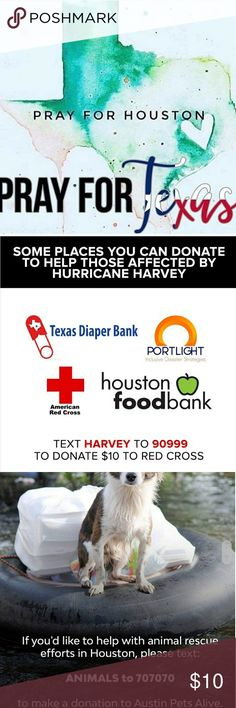 Help the Victims of Hurricane Harvey Helping each other is always in fashion, especially when it's needed the most. I've personally donated to each if these charities in the last few days and hope you can do the same. www.houstonfoodbank.org www.texasdiaperbank.org www.portlight.org www.austinpetsalive.org www.ghcf.org https://www.youcaring.com/victimsofhurricaneharvey-915053 Accessories