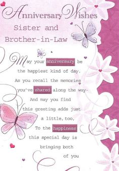 Wedding Anniversary Wishes For A Sister Message And Brother In Law
