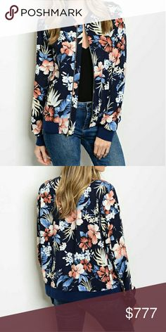 Tropical Bomber Jacket NWOT Brand new no tags Boutique item,Price is firm  Bomber jackets are all the rage this season and this navy blue bomber jacket featuring fabulous tropical print is a MUST HAVE. Pair with your favorite top and jeans. Jackets & Coats