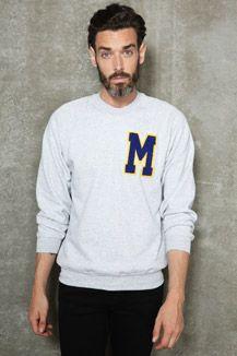 Vintage Customised M Letterman Sweatshirt