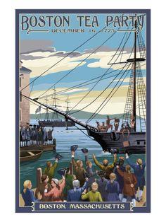 Boston, Massachusetts - Boston Tea Party Scene Print by Lantern Press at Art.com