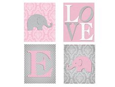 Damask Nursery Decor, Pink Gray Nursery, Elephant Wall Art, Pink Grey Nursery Wall Art, Set of Four Print on Etsy, $40.00