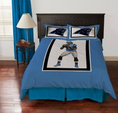 Beautiful Biggshots Carolina Panthers Cam Newton Comforter Set, Queen By Biggshots.  Official NFL And NFL Player Association License Team Bedding.