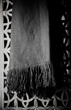 Linen. Slate Grey Linen Throw ~Pure Linen by Vini