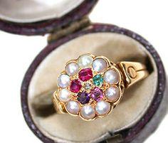 Original and True Sentiment: Victorian Regard Ring - The Three Graces