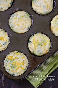 Broccoli and Cheese Mini Egg Omelets - I LOVE making these perfectly portioned mini egg omelets, EASY to make and reheat well.